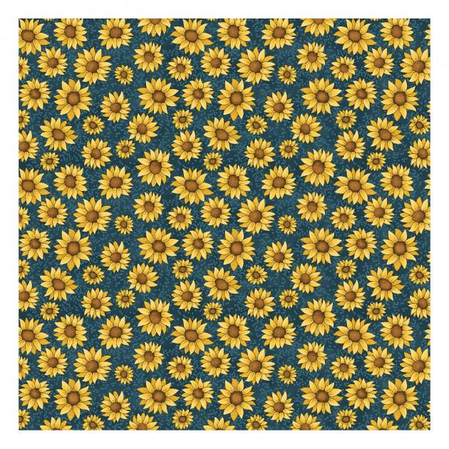 Sunshine Garden Navy with Sunflowers
