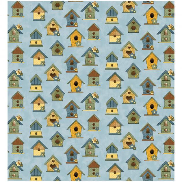 Sunshine Garden Blue with Bird Houses