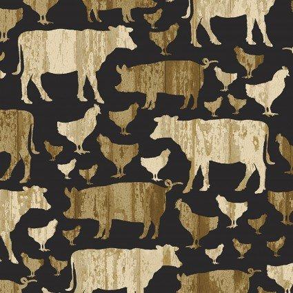 Quilt Barn Prints Large Farm Animals Black