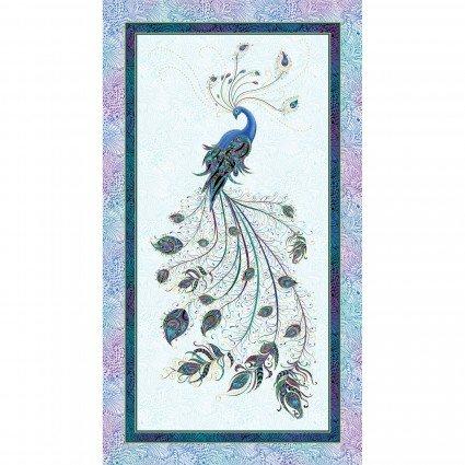 Panel White Metallic Peacock Flourish