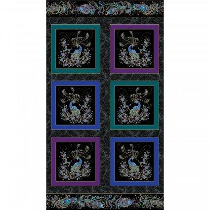 Box Panel Black Metallic Peacock Flourish