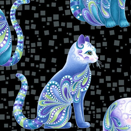 Artist-O-Cats on Black: Cat-i-Tude Singing The Blues by Ann Lauer of Grizzly Gulch Galleries for Benartex