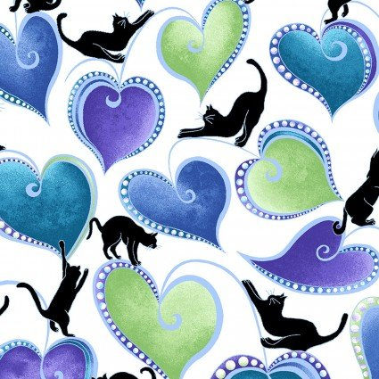 Black Cats Climbing Hearts on White: Cat-i-Tude Singing The Blues - Hearts and Cats White by Ann Lauer of Grizzly Gulch Galleries for Benartex