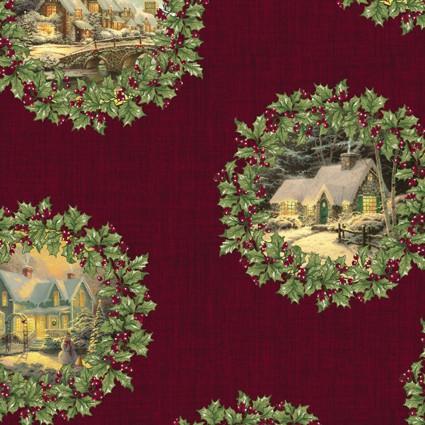 Spirit of Christmas Scenic Wreath Cranberry