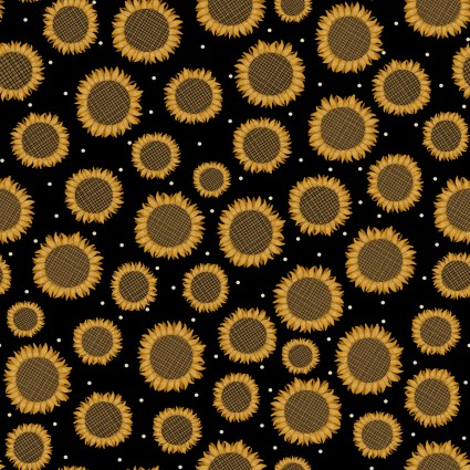 Rustic Fall - sunflowers on black
