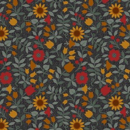 Quilter Barn Prints II -- Ashville Floral/Black & Multi