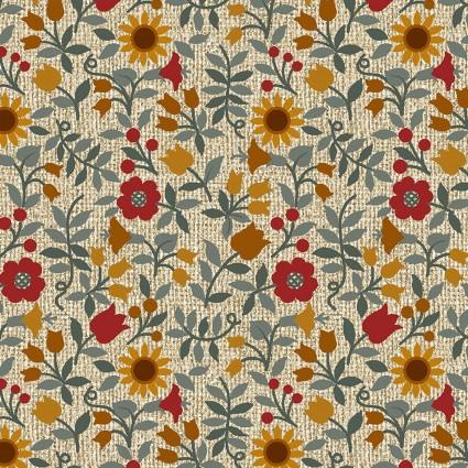 Quilter Barn Prints II -- Ashville Floral/Natural & Multi  03077-70