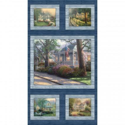 Benartex - Thomas Kincade-Hometown Spirit PANEL/Harbor Blue - 04028-55 - H-8