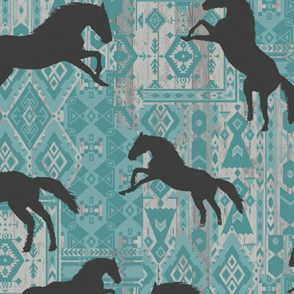 Born To Run Horses Silhouette Turquoise