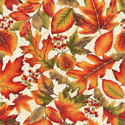 Autumn Leaves Cream designed by Jackie Robinson for Benartex