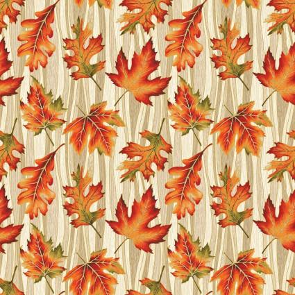 Autumn Leaves Wave Leaf Metallic designed by Jackie Robinson for Benartex
