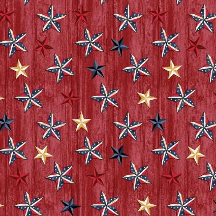 American Rustic Stars on Wood Red (F10558)