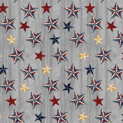 American Rustic Stars on Wood Grey (F10555)