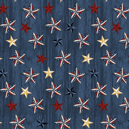 American Rustic Stars on Wood Blue (F10551)