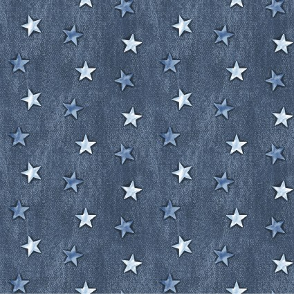 American Rustic Stars on Denim Blue (F10550)