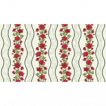 A Festival of Roses Festive Roses Stripe Green BEN6636P-42