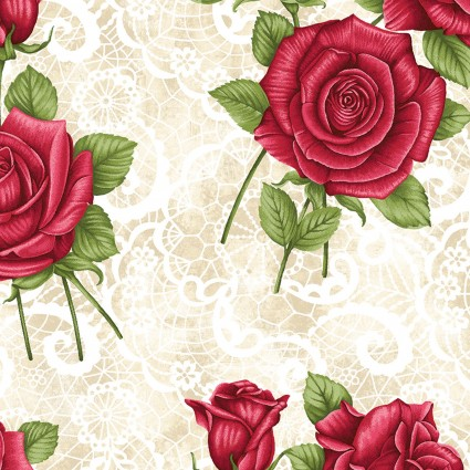 A Festival of Roses Festive Lace Roses Cream BEN6638P-07