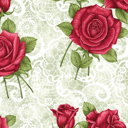 A Festival of Roses Festive Lace Roses Green BEN6638P-42