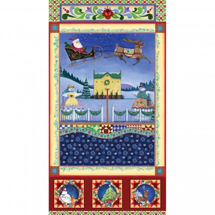 A Quilter's Christmas by Jim Shore Village Scene Panel Multi