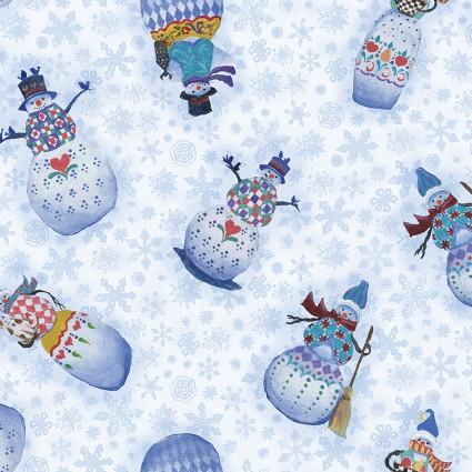 A Quilter's Christmas Snowmen Blue