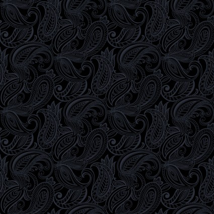 Lilyanne - Tonal Black Paisley - by Ann Lauer for Benartex