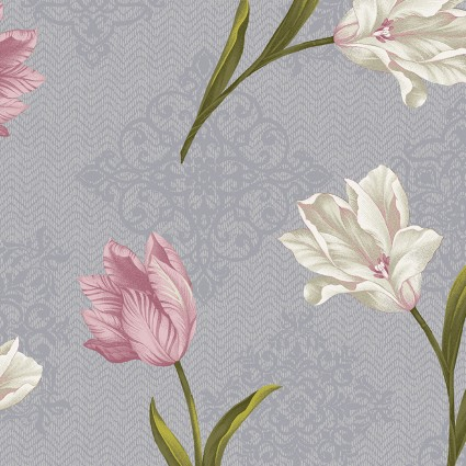 Totally Tulips Tulip Medallion Grey/Multi BEN6732P-11