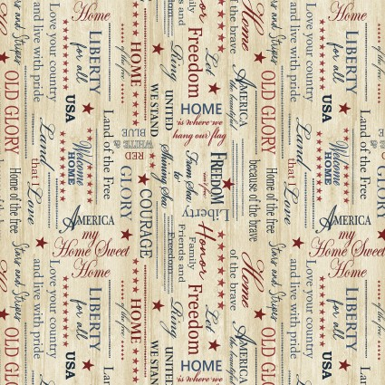 Home of the Free Patriotic Words Beige 5105