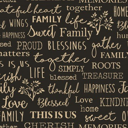 Quilter Barn Prints II -- Family Words/Black   06844-12