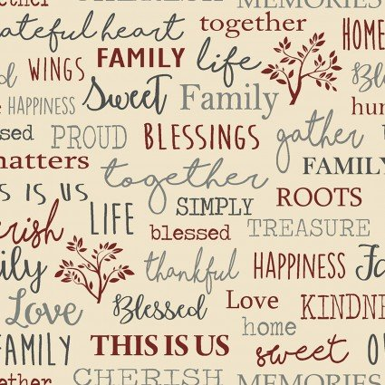 Quilter Barn Prints II -- Family Words/Beige  06844-71