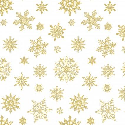 Deer Festival/Falling Flakes White/Gold