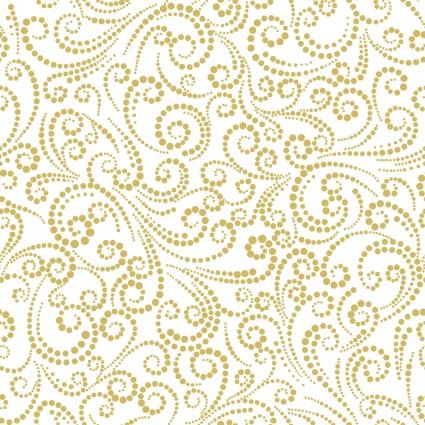 Deer Festival/Dotted Scroll White/Gold