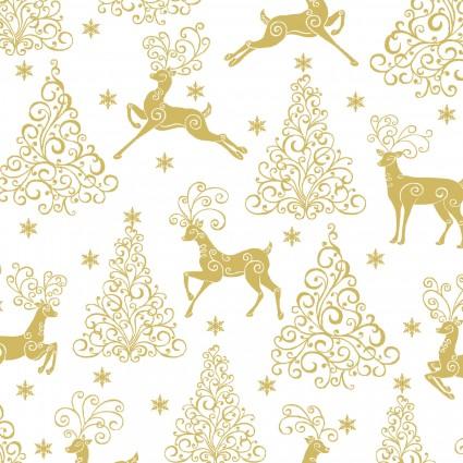 Deer Festival/Deer,Trees & Stars White/Gold