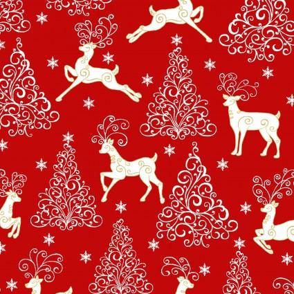 Deer Festival/Deer, Trees & Stars Red