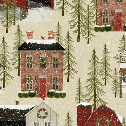 Snow Village Allover - Beige w/bldgs