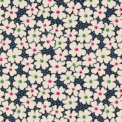 Lizzy Albright Attic Window - Navy Posies 6912P-11