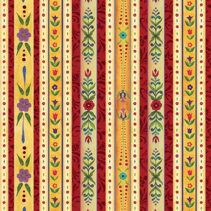 A Quilter's Christmas by Jim Shore Country Stripe Red/Multi