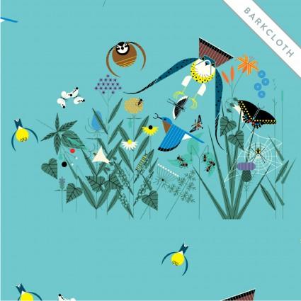 Field of Birds (Barkcloth): Summer (Charley Harper)