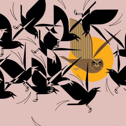 Charley Harper Barkcloth Owltercation