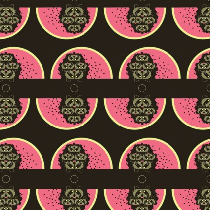 Charley Harper Cats & Raccs Watermelon Moon