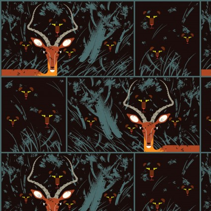 Night Gazelle/Black: Halloween (Charley Harper)