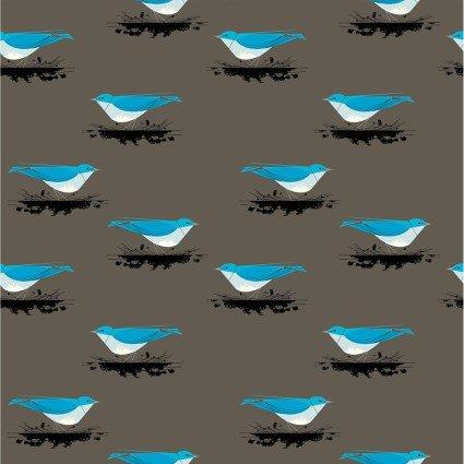 Birch Fabrics Charley Harper Western Birds CH-42 Mountain Bluebird 100% Organic Cotton