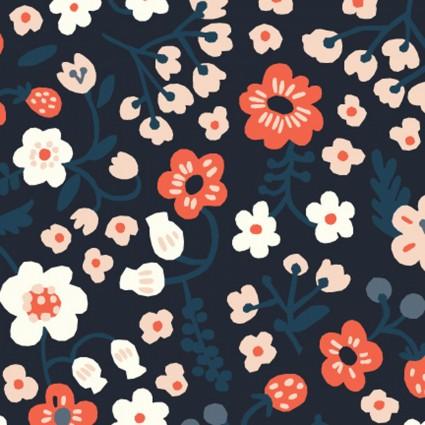 Margot Midnight - Bella Cotton Lawn - Birch