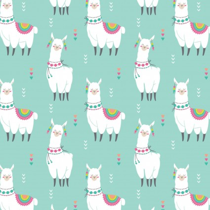 Fleece Prints Happy Llamas Aqua