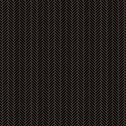 Black Metallic Gold Nightfall Herringbone -FQ
