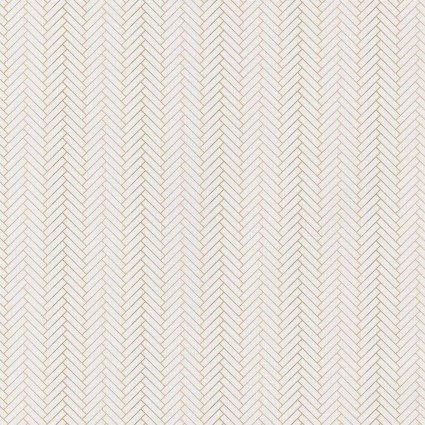 White Metallic Gold Nightfall Herringbone -FQ