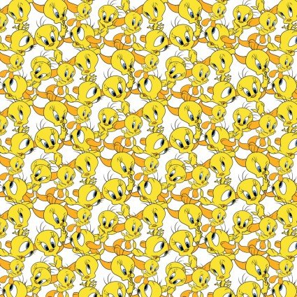 Looney Tunes II Tweety Expressions on White Fabric by the Yard