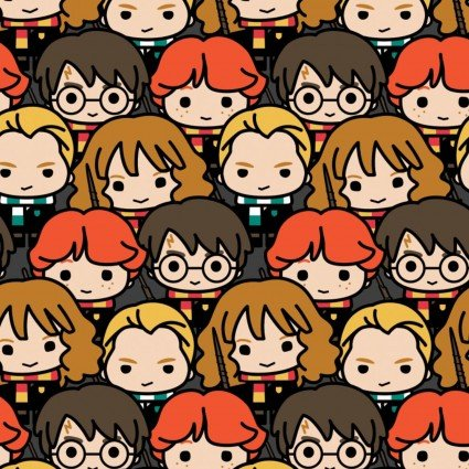 Harry Potter Kawaii Characters stacked Fabric by the Yard