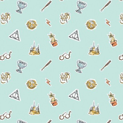 Wizarding World Deathly Elements on Aqua Fabric by the yard