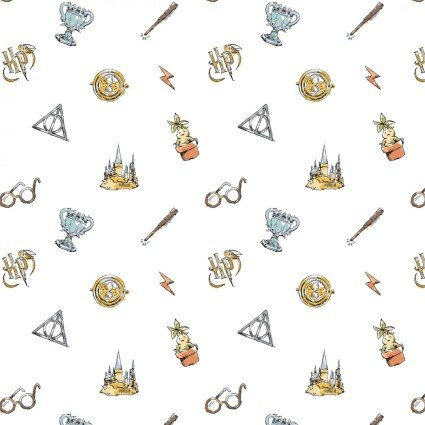 Wizarding World Deathly Elements on White Fabric by the yard