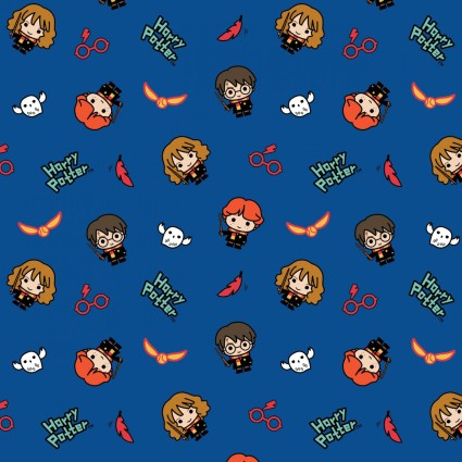 Wizarding World Kawaii Harry Potter Characters and Owls on Blue Fabric by the yard